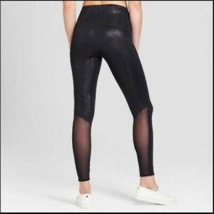 371baeeda4ace JOY LAB/ high rise metallic black 7/8 mesh legging
